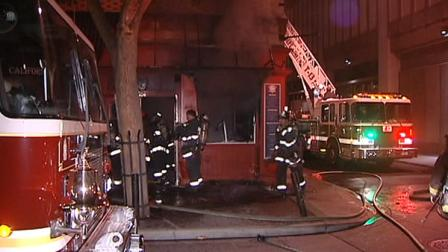 Crews battled a one-alarm fire at a restaurant called 7 Pleasures California Grill & Bakery in San  Franciscos Financial District early Saturday morning.