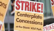 Centerplate concession workers picket outside of AT&T Park before a baseball game between the San Francisco Giants and the Colorado Rockies