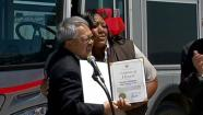 A Muni bus driver was honored for her quick thinking in driving a  victim to the hospital after a shooting into a bus.