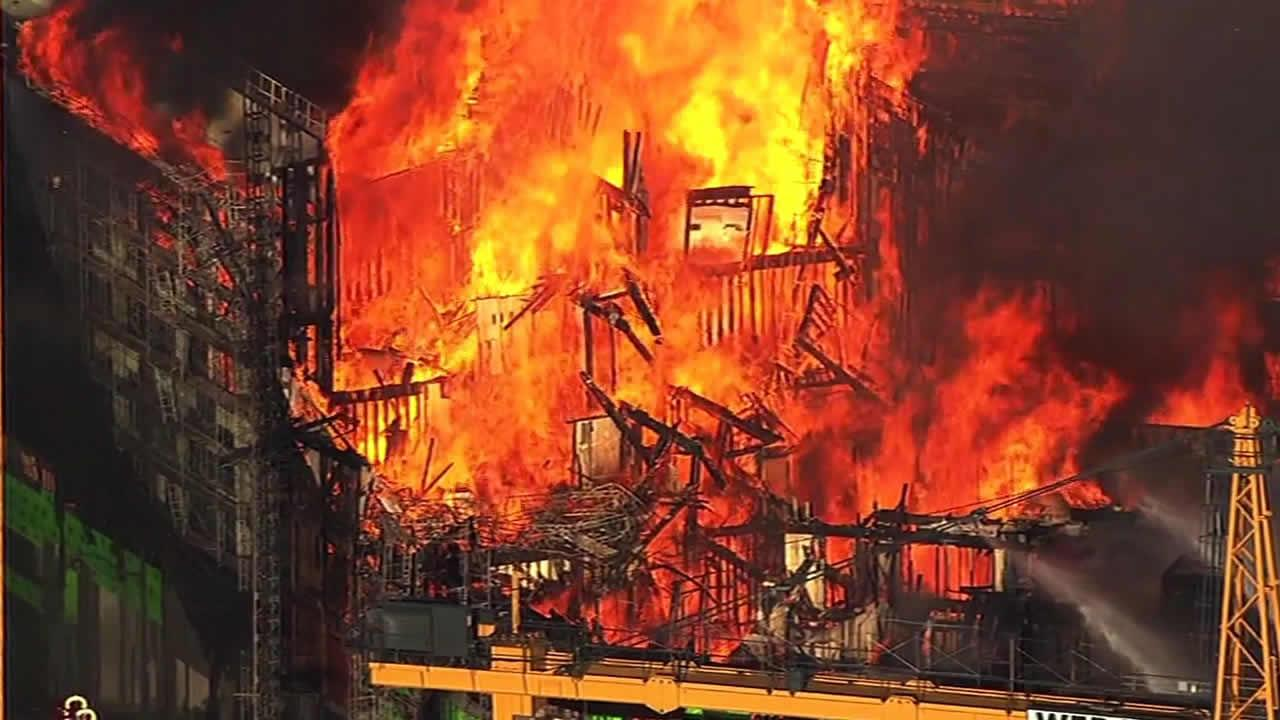 Massive fire burning on 4th Street near China Basin in San Francisco