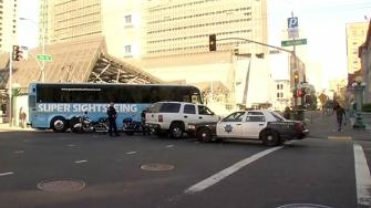 Tour bus hits man on Mission Street in San Francisco