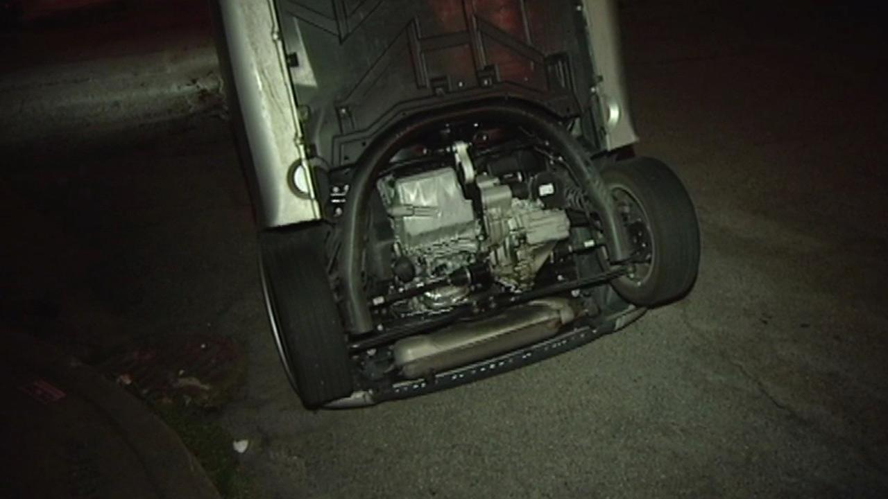 Smart Car flipped in San Francisco