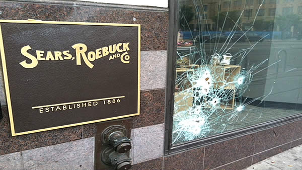 Protesters smashed windows of businesses in downtown Oakland after the George Zimmerman verdict on Saturday. <span class=meta>(KGO)</span>