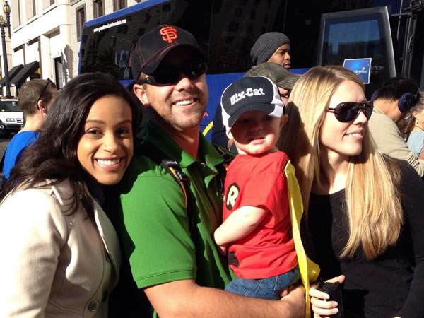 "<div class=""meta ""><span class=""caption-text ""> ABC7 News reporter Ama Daetz with Miles and the Scott family, moments before Batkid left the Bat Cave to fight crime in ""Gotham City,"" in San Francisco on November 15, 2013. (ABC7 News)</span></div>"