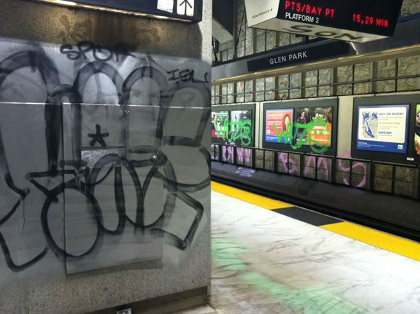 Police are looking for the vandals that extensively tagged the Glen Park BART station with graffiti.  <span class=meta>(KGO Photo)</span>