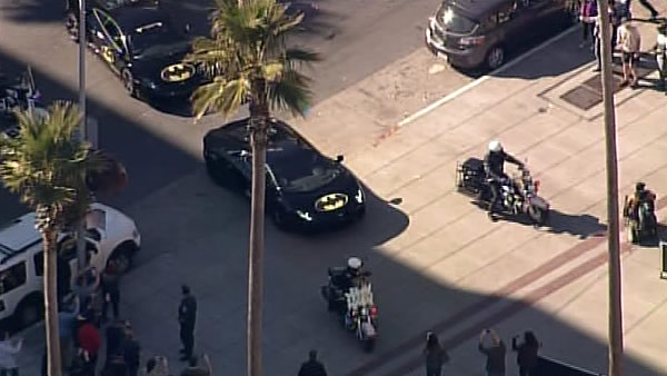 Batkid arrives at San Francisco's AT&T Park to rescue Lou Seal on November 15, 2013.