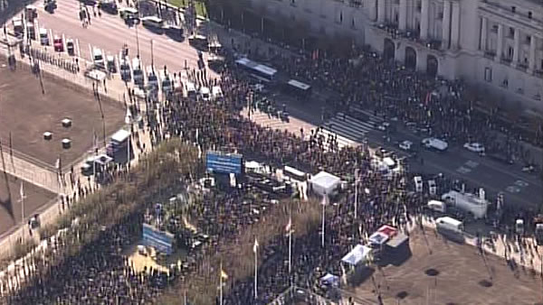 A large crowd waits for the arrival of Batkid at City Hall in San Francisco before he is awarded the key to the city on November 15, 2013. <span class=meta>(KGO)</span>