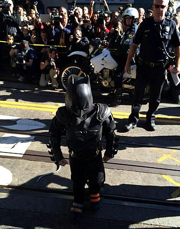 Batkid arrives at San Francisco's AT&T Park to rescue Lou Seal from the Penguin on November 15, 2013.