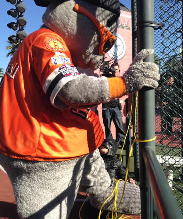 Batkid saves Lou Seal from the Penguin on November 15, 2013. <span class=meta>(KGO)</span>