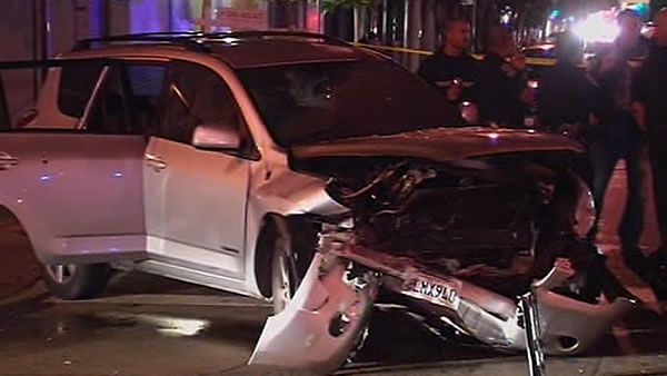 "<div class=""meta ""><span class=""caption-text "">Here are photos at the crash scene at 6th and Brannan streets in San Francisco where two people were injured after a brief police chase. </span></div>"