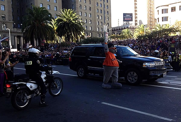 A large crowd waits for Batkid outside of Macy's in San Francisco's Union Square on November 15, 2013.