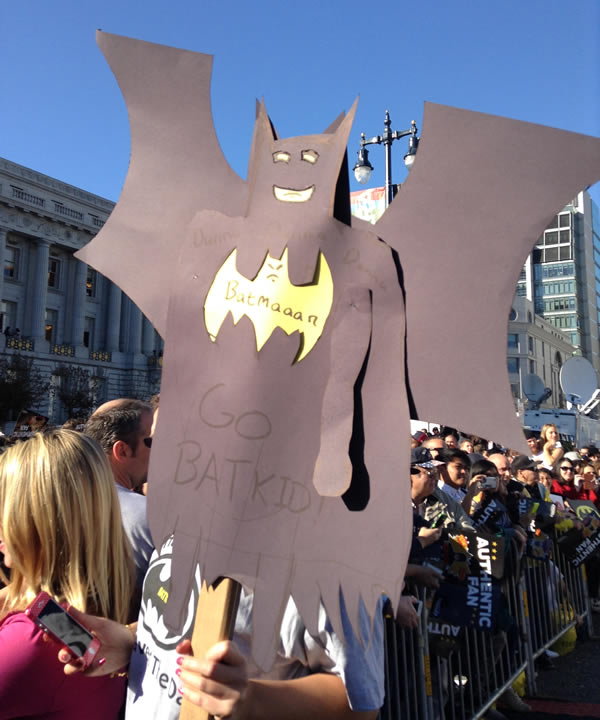 Batkid fan holds up a sign in front of City Hall on November 15, 2013. <span class=meta>(KGO)</span>