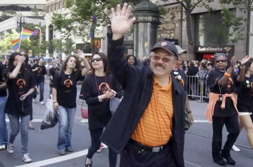 San Francisco Mayor Ed Lee waves during the 41st annual Gay Pride parade in San Francisco, Sunday, June 26, 2011. (AP Photo/Jeff Chiu)