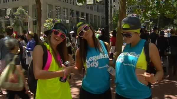 San Francisco&#39;s annual gay pride parade moved through Market Street on Sunday morning. <span class=meta>(KGO Photo)</span>