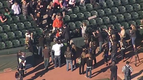 Batkid rescues Lou Seal at San Francisco&#39;s AT&#38;T Park on November 15, 2013. <span class=meta>(KGO)</span>