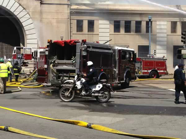 Fire crews in San Francisco battle a fire at a building under renovation at Pier 29.  Wednesday, June 20, 2012. <span class=meta>(Rachel Schwartz&#47;ABC7 News)</span>