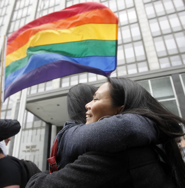 Maria Ydil, right, hugs fiance Vanessa Judicpa outside of the United States District Court proceedings challenging Proposition 8 outside of the Phillip Burton Federal Building in San Francisco, Wednesday, Aug. 4, 2010. A federal judge overturned California's same-sex marriage ban Wednesday in a landmark case that could eventually land before the U.S. Supreme Court to decide if gays have a constitutional right to marry in America. (AP Photo/Jeff Chiu)