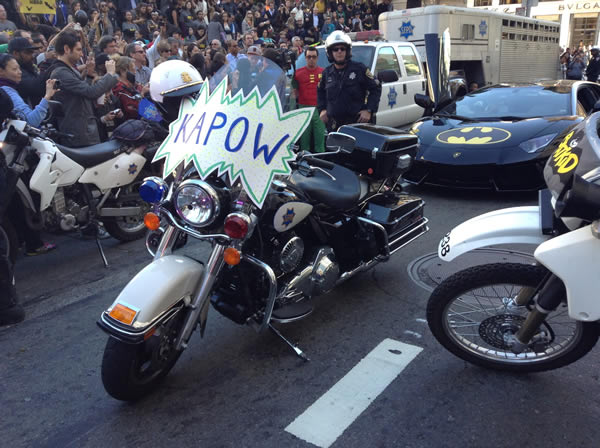 San Francisco police motorcycle in San Francisco&#39;s Union Square on November 15, 2013. <span class=meta>(KGO)</span>