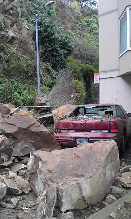 A rockslide near San Francisco&#39;s Telegraph Hill has crushed a car and caused the partial evacuation of an apartment building &#40;Monday, January 23, 2012&#41;. <span class=meta>(Lyanne Melendez)</span>