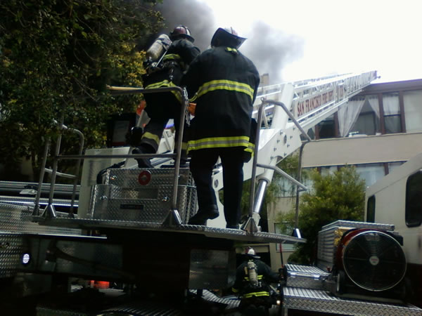 One person was killed and two injured in a two-alarm apartment fire in San Francisco's Western Addition, July 25, 2012. (Photo courtesy of Andrew S.)