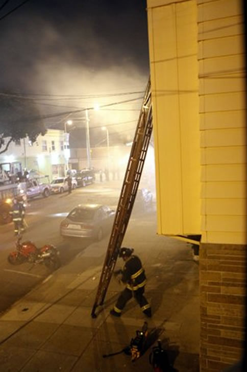 The SFPD detonated a bomb which caused a loud explosion and fire Tuesday night. (Photo courtesy viewer Joan Bogart)