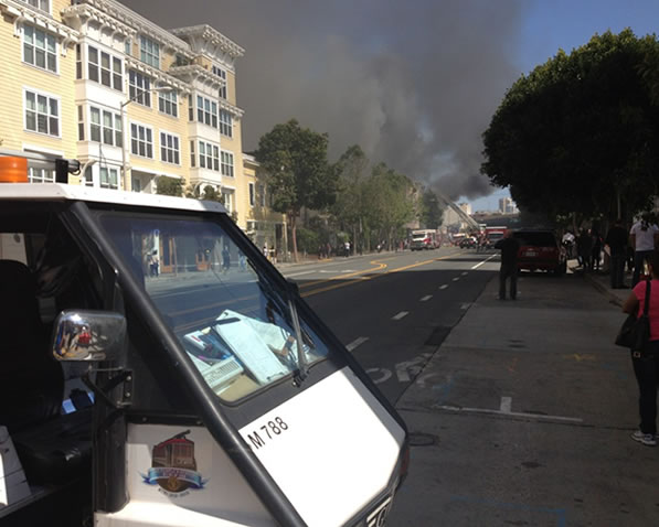 This photo is from Mission Local of the Mission District fire at Valencia and Duboce.  (Photo courtesy @MLNow via Twitter)