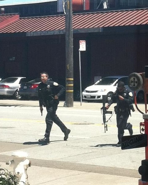 Shooting on Brannan Street in San Francisco. (Photo submitted via uReport)