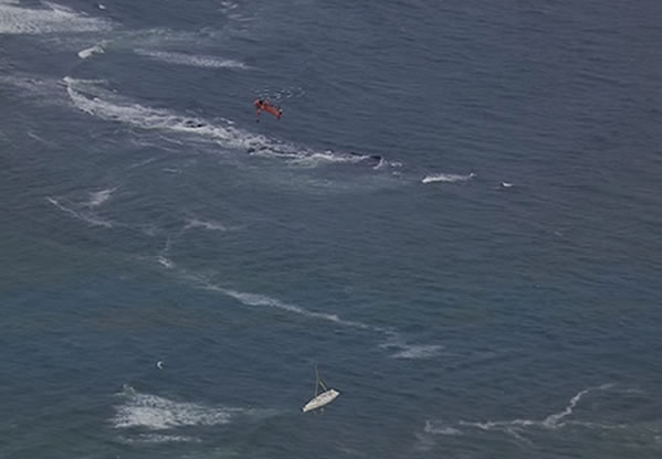 A large sky crane flew out to retrieve the Low Speed Chase yacht from The Farallones.