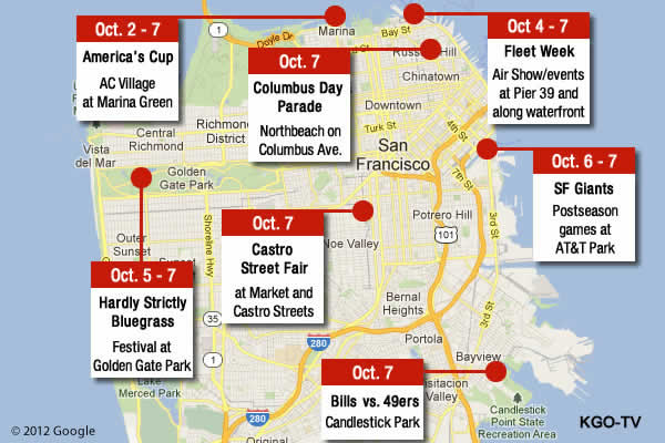 ABC7 has put together a quick snapshot of the events happening Oct. 2 - 7, 2012. <span class=meta>(KGO)</span>