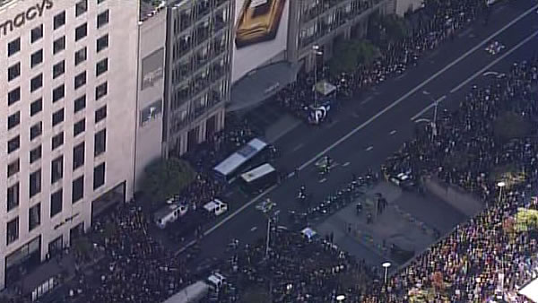 A large crowd waits for Batkid outside of Macy&#39;s in San Francisco&#39;s Union Square on November 15, 2013. <span class=meta>(KGO)</span>