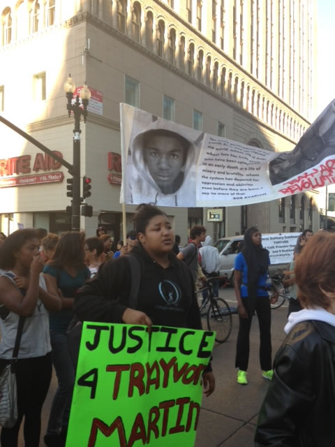 A large crowd marched through Oakland on Sunday, July 14, 2013 in support of Trayvon Martin.