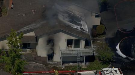 The fire began around 1:30 p.m. at a home on Blue Jay Drive and Homestead Road in Cupertino.