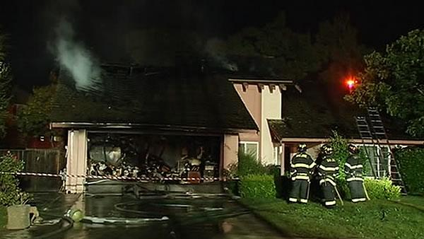 Roof of single-family home destroyed by fire