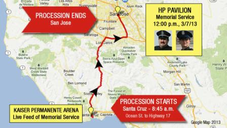 Santa Cruz police officers killed in the line of duty: Sergeant Loran Butch Baker and Officer Elizabeth Butler.  Map of motorcade procession and key venues for memorial on Thursday, March 7th, 2013.