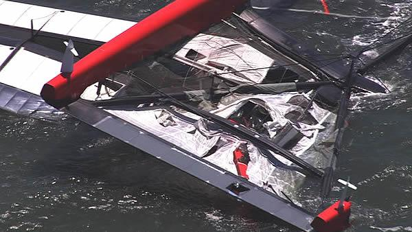 America's Cup racing boat capsized on the Bay