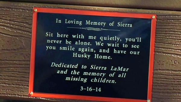 Bench dedicated to honor missing teen Sierra LaMar