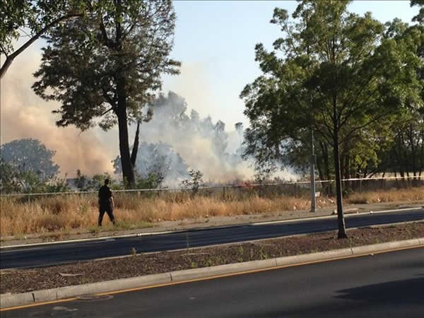 A large brush fire burns near Quimby Road and Capitol Expressway in San Jose. <span class=meta>(Photos submitted via uReport)</span>