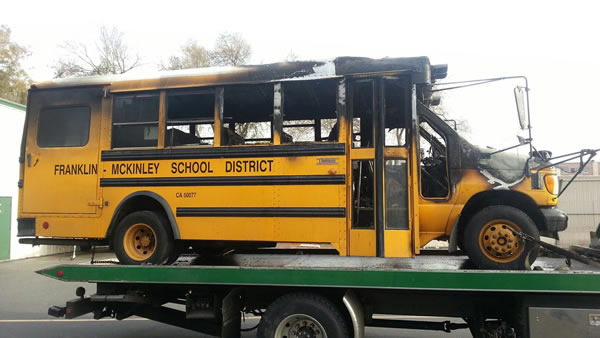 A school bus burst into flames in San Jose Tuesday and firefighters credit the driver with rescuing a girl in a wheelchair. <span class=meta>(Franklin-McKinley School District)</span>