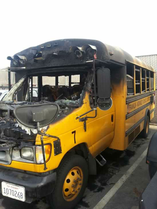 "<div class=""meta ""><span class=""caption-text "">A school bus burst into flames in San Jose Tuesday and firefighters credit the driver with rescuing a girl in a wheelchair. (Franklin-McKinley School District)</span></div>"
