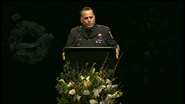 Chief Kevin Vogel Santa Clara Police Dept. speaks at memorial for two fallen police officers