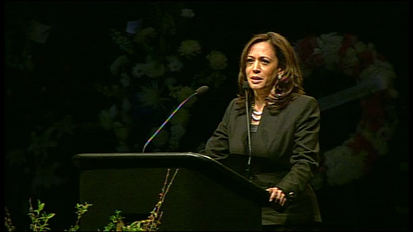 California Attorney General Kamala Harris speaks at memorial for two fallen Santa Cruz officers <span class=meta>(KGO)</span>
