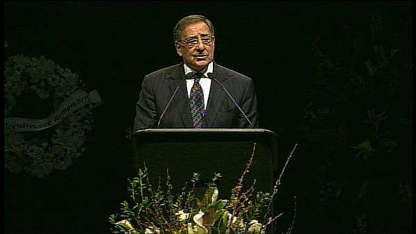 Former Defense Secretary Leon Panetta speaks at memorial service for two fallen Santa Cruz police officers. <span class=meta>(KGO)</span>