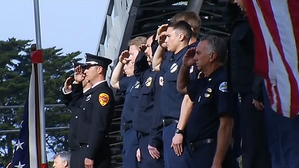 Officers pay respects to two Santa Cruz police officers killed