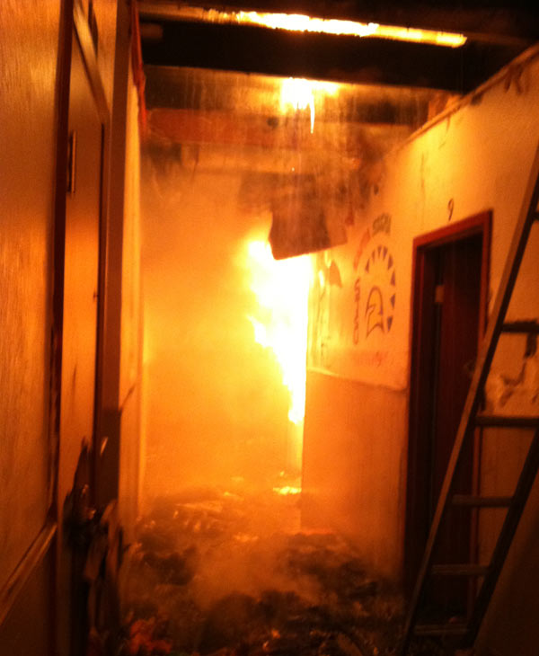 Interior of the fire at the Kappa Sigma...