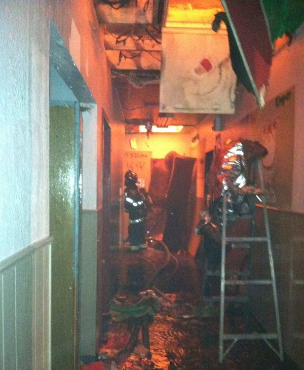 Interior of the fire at the Kappa Sigma fraternity house. (Courtesy of the SJFD)