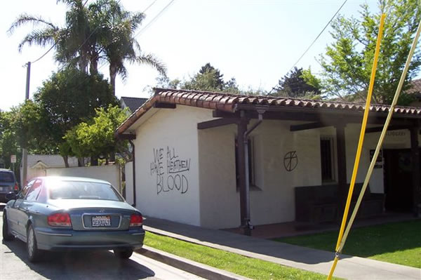 Police are investigating extensive vandalism that took place May 6, 2012 at historic Holy Cross Church in Santa Cruz.