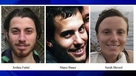 This combination of undated file photos released by freethehikers.org shows, from left; Joshua Fattal, Shane Bauer, and Sarah Shourd.