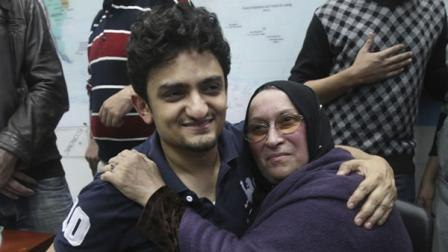 A Google executive who helped ignite Egypts uprising energized a crowd of hundreds of thousands with his first appearance