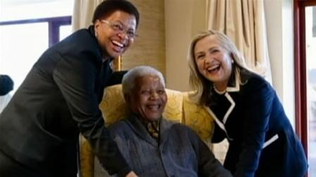 Secretary of State Hillary Clinton visited South African icon Nelson Mandela on Monday.