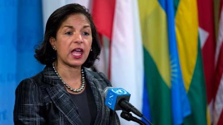 U.S. Ambassador Susan Rice speaks at a news conference after the U.N. Security Council held an emergency meeting on North Koreas nuclear test